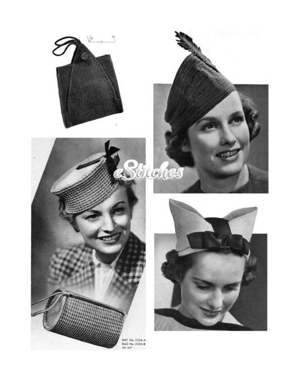 1930s Hats and Bags Accessories in Crochet Book No 126 - 17 Crochet  patterns PDF 0126 8b9c1d4dcb4
