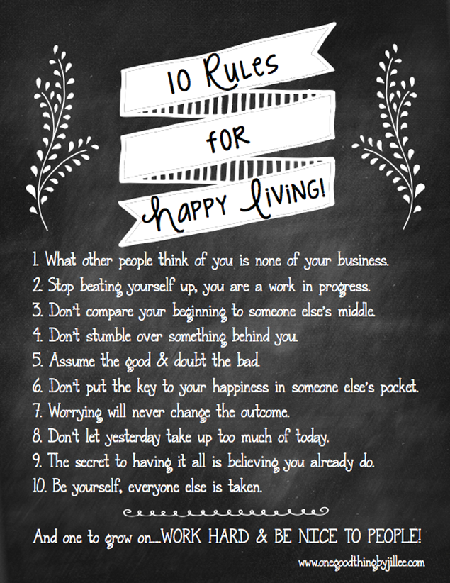 Jillees Rules For Happy Living Free Printable Jillee One Good