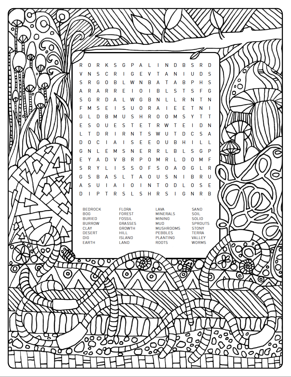 Earthy Themed Word Search Colouring Page Is Up For Grabs Help Yourself Coloring Pages To Print Coloring Pages Earth Coloring Pages