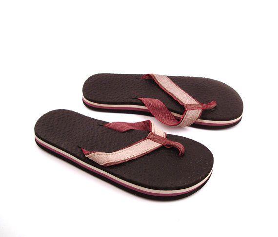 69a5e435ede3 1980s Flip Flops Vintage Sandals Brown by purevintageclothing Foam Stripe  Thick