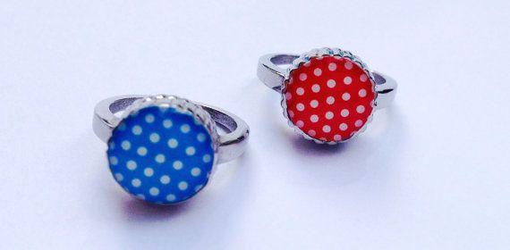 Best friend ring sisters rings polka dot rings by SweetieTops, $7.00