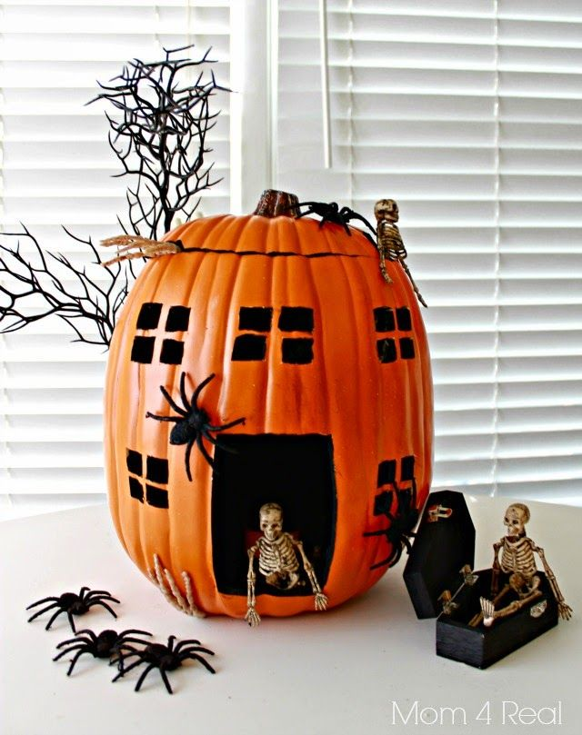 wwwmom4real/pumpkin-decorating-ideas-using-foam-pumpkins - halloween pumpkin decorations