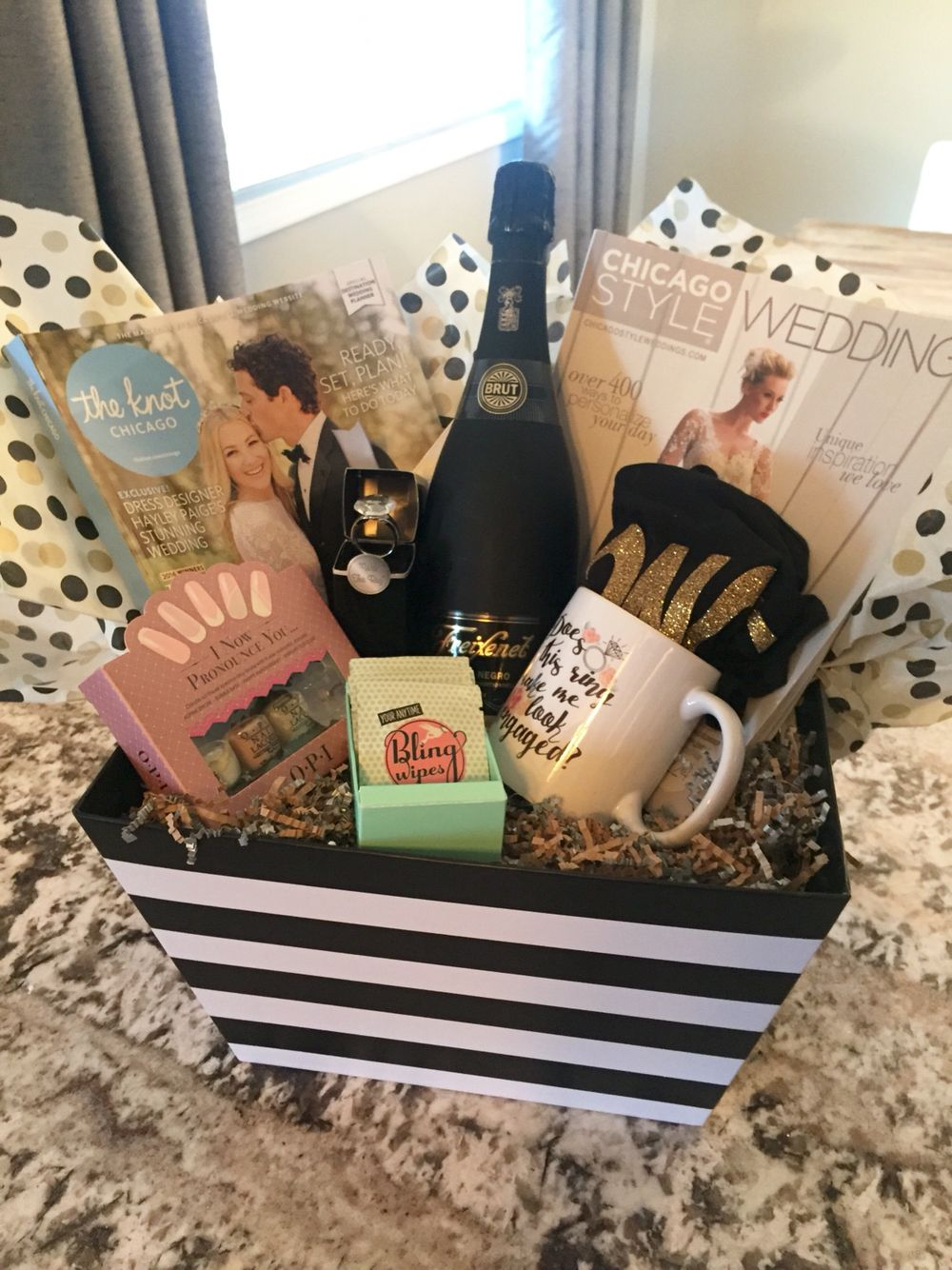 Engagement gift basket bling wipes, champagne