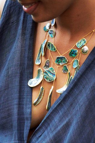Paua Shell waterfall necklace by designer Pippa Small