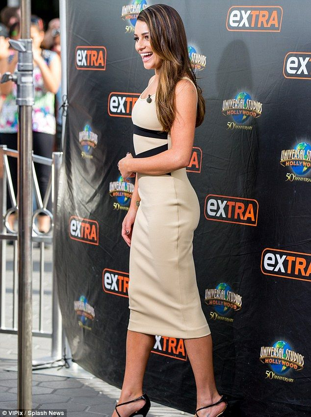 Good mood: Lea beamed during her visit to Universal Studios Hollywood...