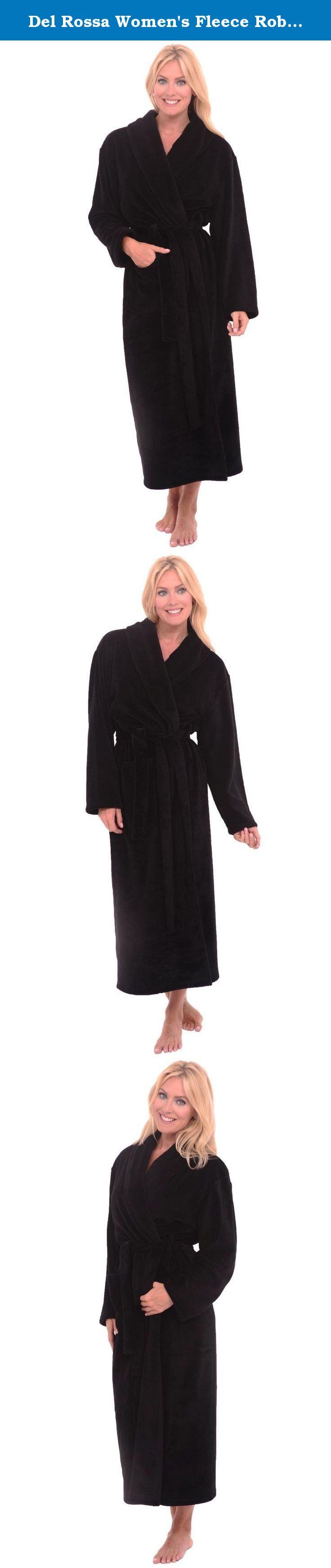 Del rossa womenus fleece robe long bathrobe small medium black