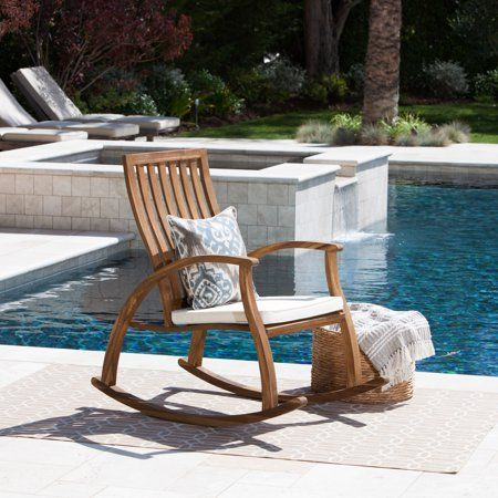 Clinton Outdoor Acacia Wood Rocking Chair With Cushion Natural