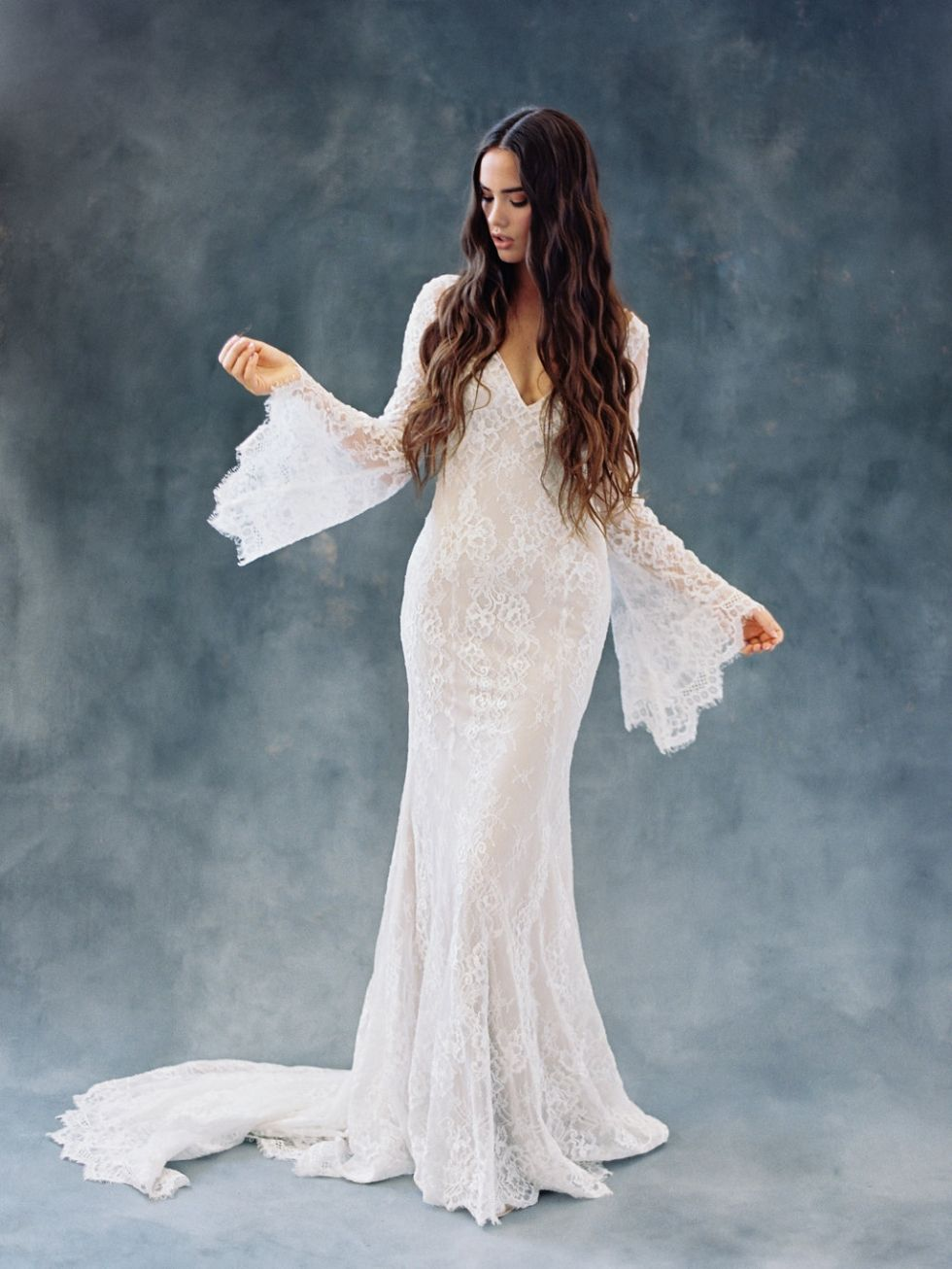 Boho lace wedding dress with bell sleeves boho bohobride