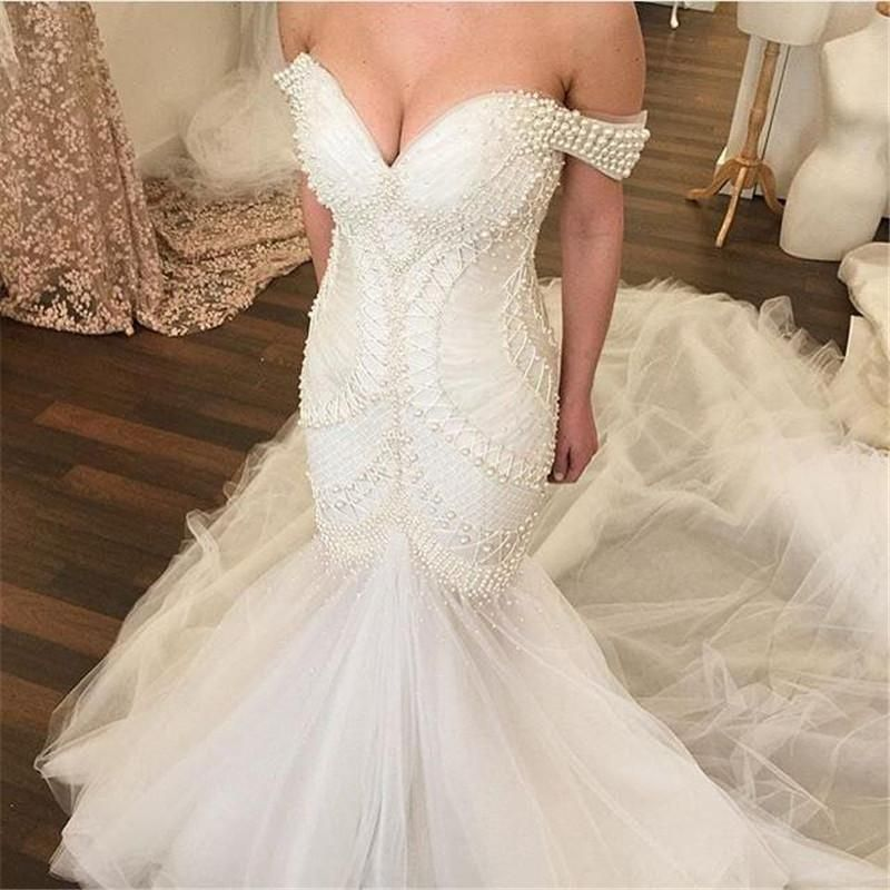Elegant major beading pearls mermaid wedding dresses 2016 for Mermaid wedding dress with train