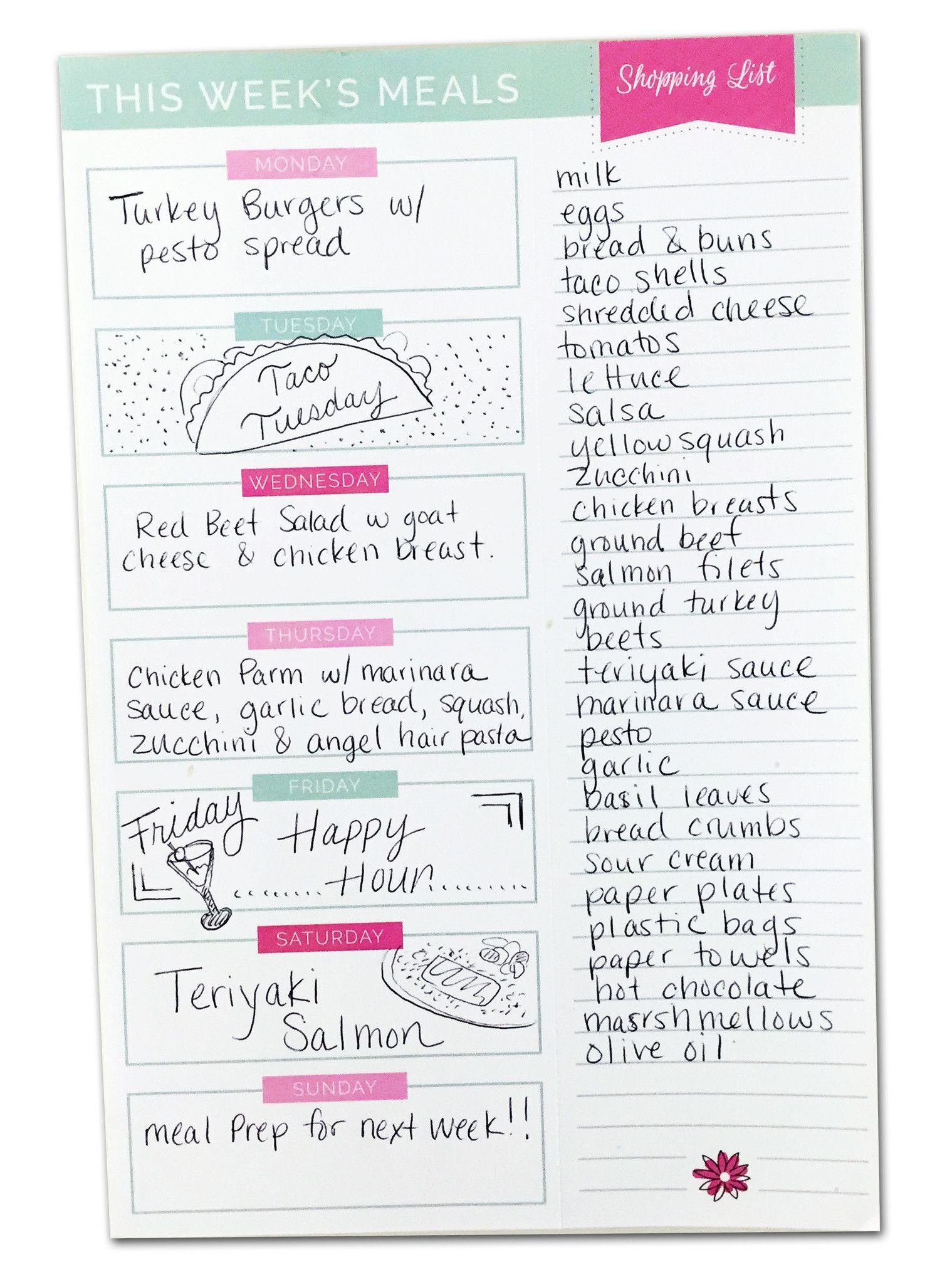 Meal Planning Pad with Magnet & Perforated Shopping List, 6\