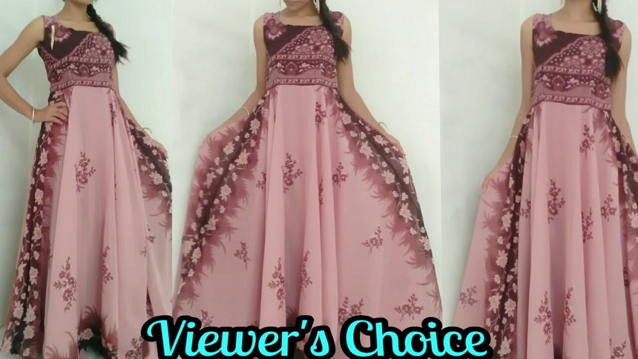 Diy Convert Old Saree Into Long Gown Drees In 15 Minutes Reuse
