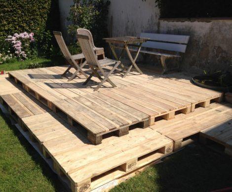 holzterrasse aus paletten selber bauen so geht es herrlicher terrasse aus paletten. Black Bedroom Furniture Sets. Home Design Ideas