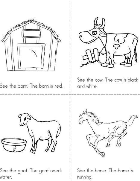 At The Farm Mini Book Mini Books Farm Books Farm Activities Preschool Animal booklet for kindergarten