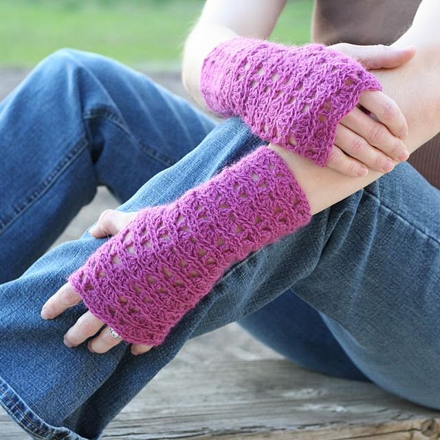 Free Crochet Pattern For Ripple Lace Fingerless Gloves Teresa