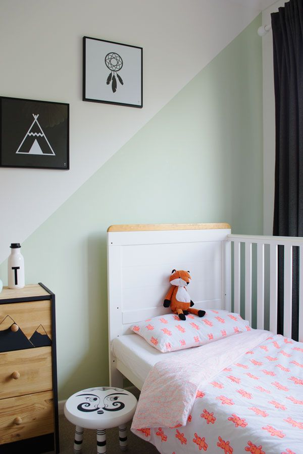 zone a shared kids room with paint light pastel mint green wall neon bunny rabbit lulu nat organic cotton toddler nursery bedding ikea rast chest of