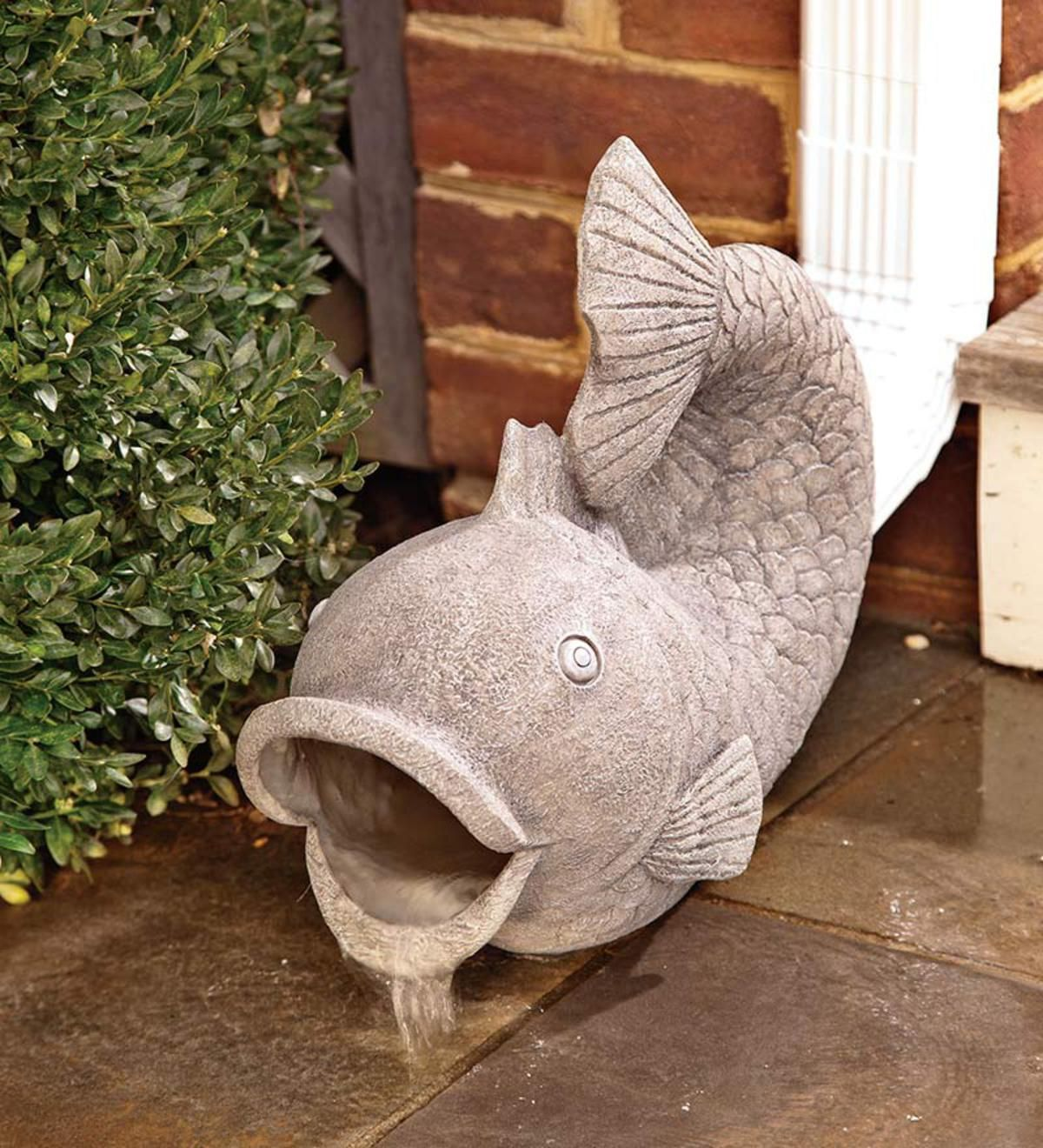 Our Friendly Fish Decorative Garden Downspout Cheerfully Steers Water From Your Gutters Onto Your Lawn Slip T Fish Garden Decorative Downspouts Garden Statues