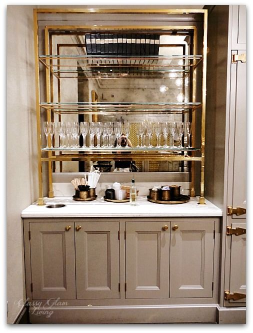 Cabinets Br Gl Shelves Cly Glam Restoration Hardware Chicago The Gallery At Three Arts Club In