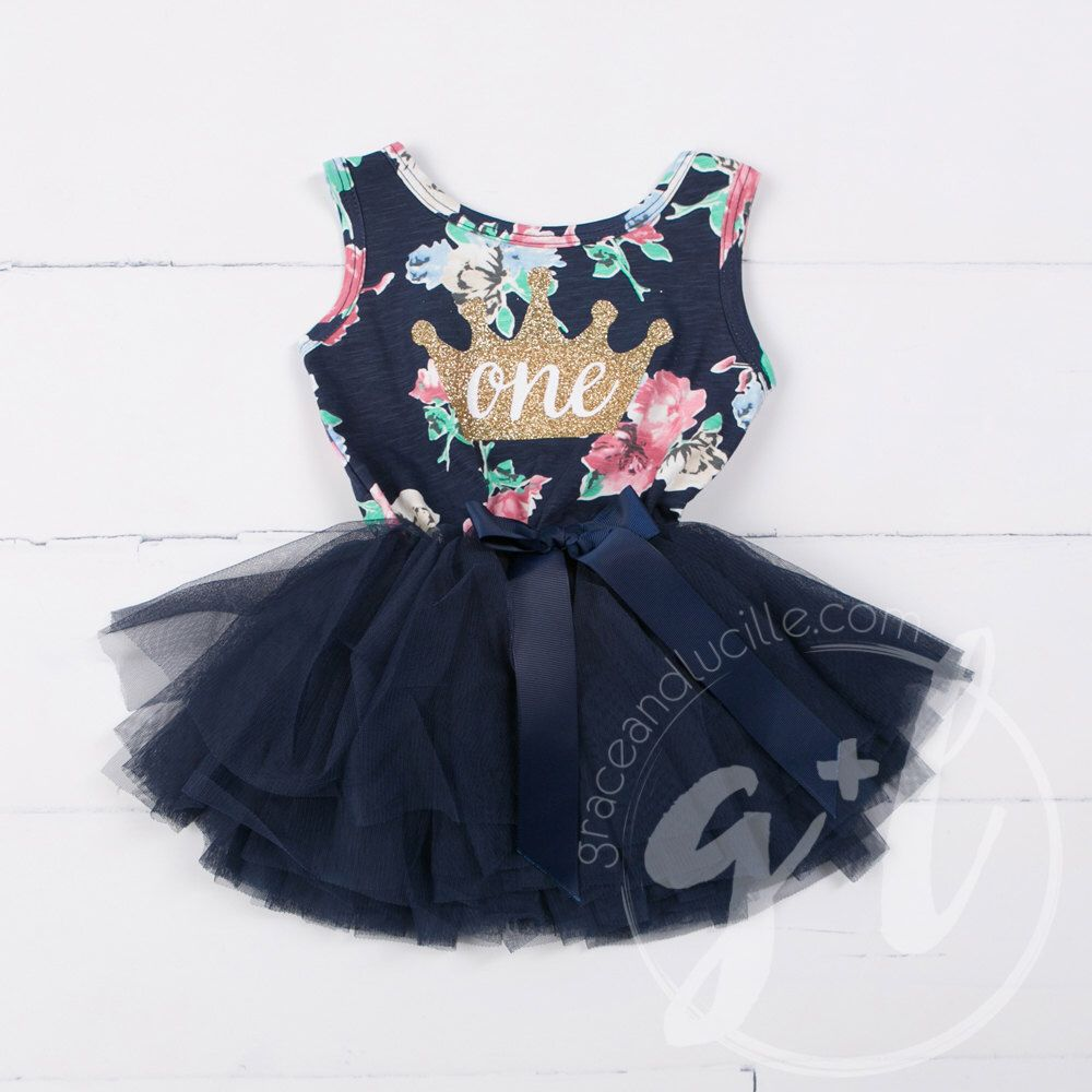 first Birthday floral outfit dress with crown and navy