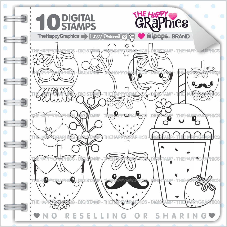 Strawberry Stamp 80OFF COMMERCIAL USE Digi Digital Image