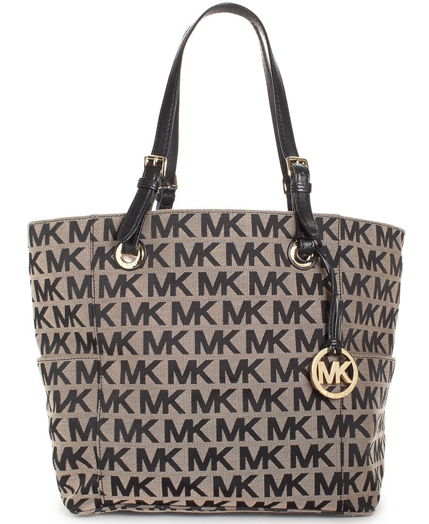 Michael Kors Handbag Block Monogram Signature Tote Handbags Accessories Macy S Beige Ebony Vanilla