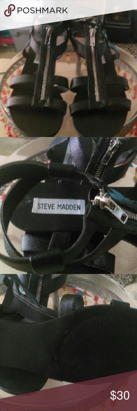 Steve Madden sandals NWOT.  Black zip front sandals!   Super Cute! Steve Madden Shoes Sandals