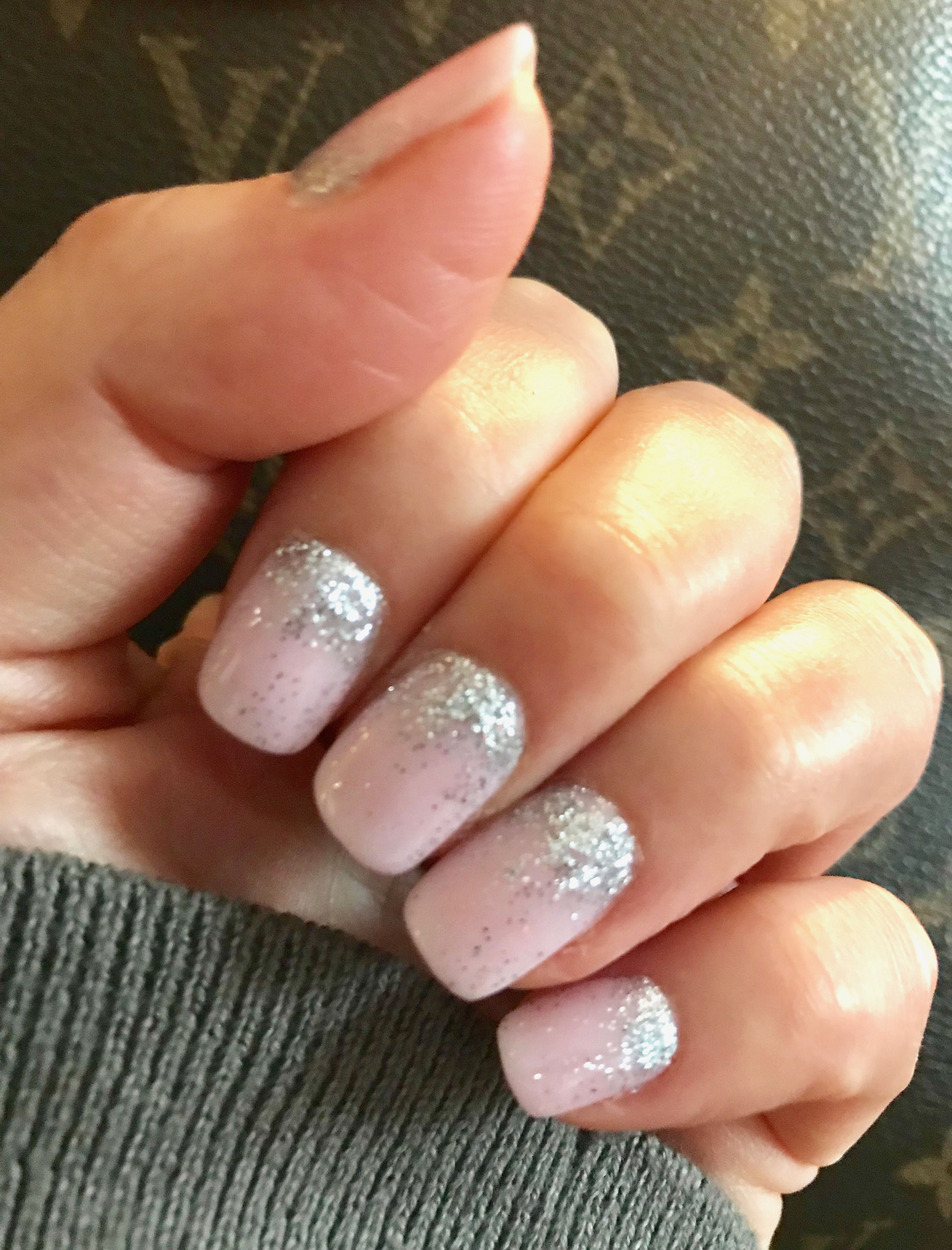 Winter/holiday nails: pale pink with silver glitter SNS powder dip ...