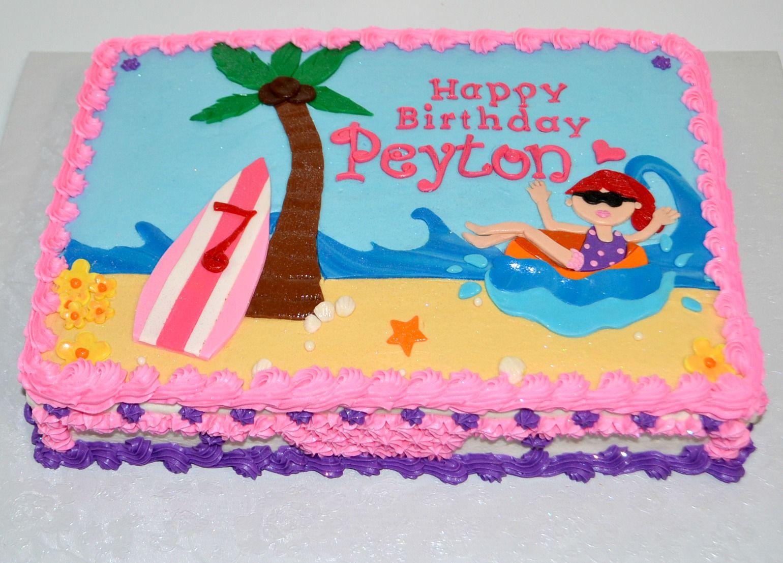 1122 Beach Theme Flat Figures Kids Cake Cake Shop Birthday
