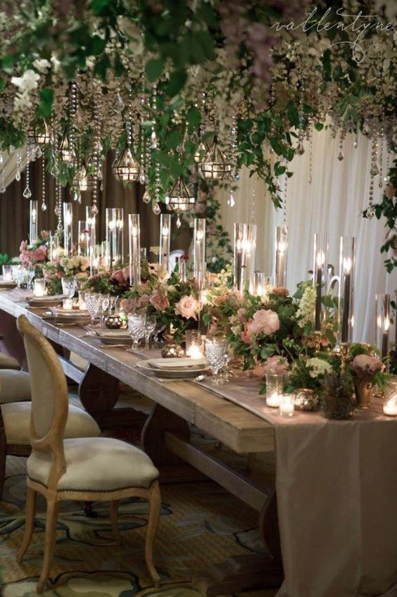 Rustic Indoor Green Wedding Reception