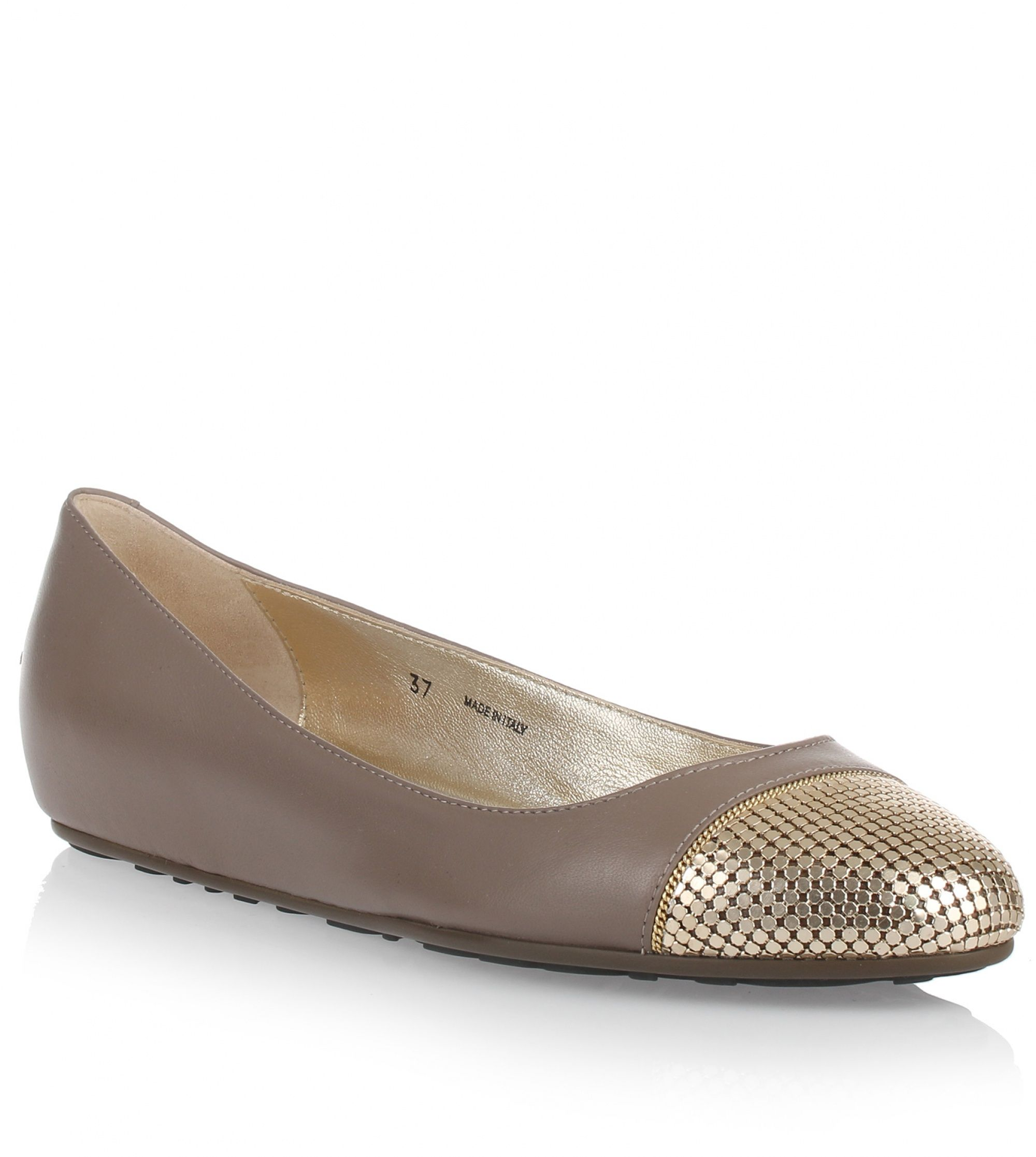 Jimmy Choo Waine taupe leather ballerina US$ 575   Taupe leather ballerina from Jimmy Choo. The Waine ballerina has a gold-tone mesh metal covered toe, a gold-tone chain, and a rubber sole.True to sizeRubber soleMade in ItalyDesigner colour: Mink