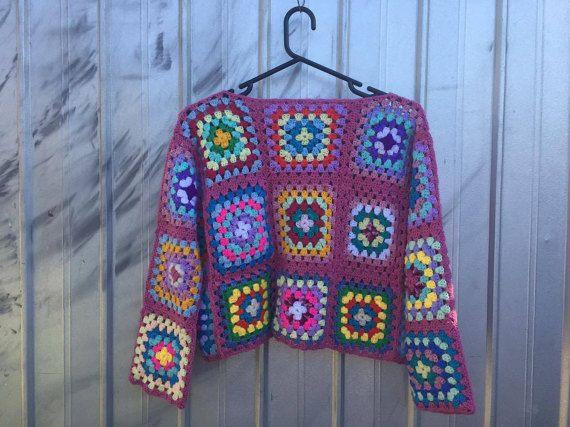 bunte häkeln Oma quadratischen-Pullover von YoBananaBoy auf Etsy ...