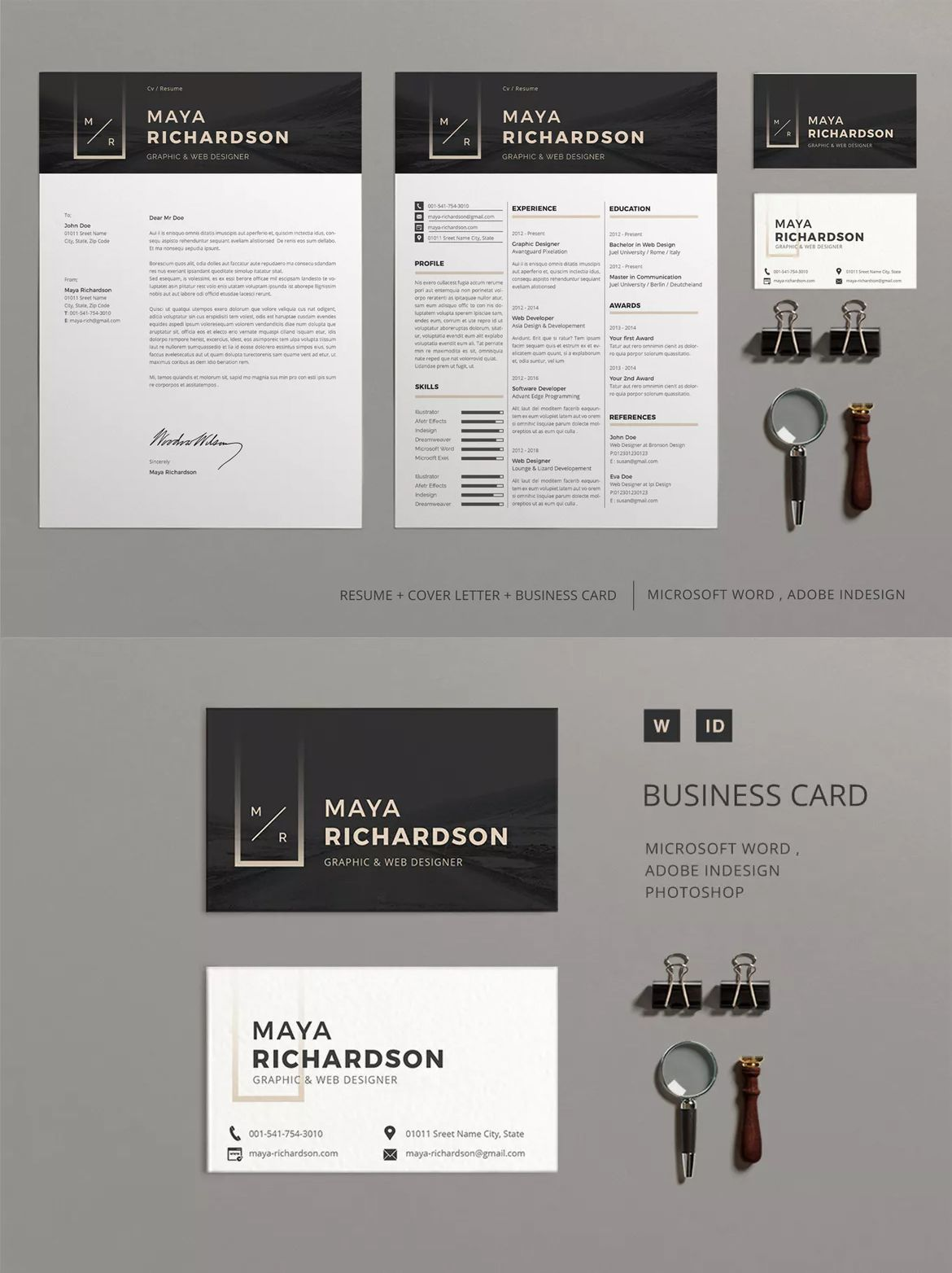 Resume Maya Template InDesign INDD A4 and Us Letter Size