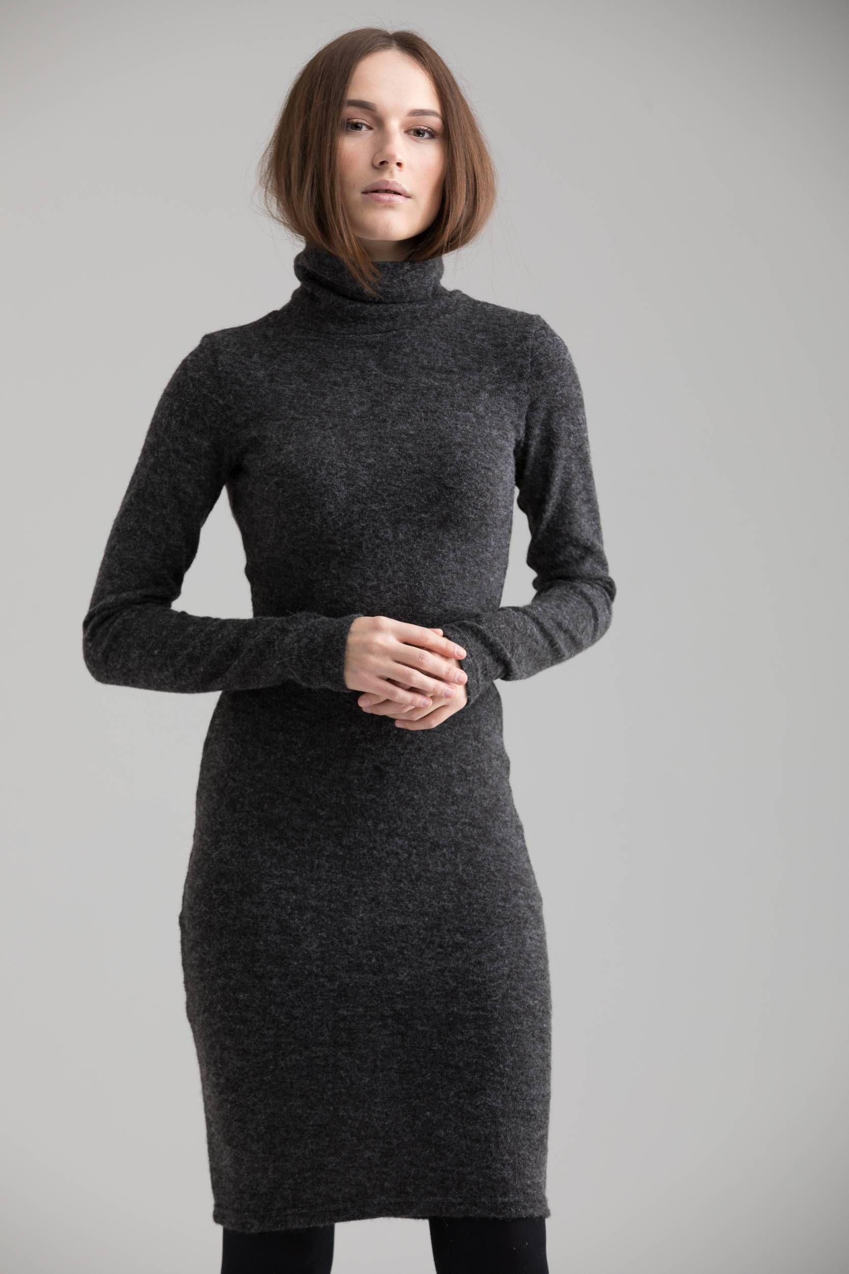 Grey turtleneck long sleeve winter dress casual dresses