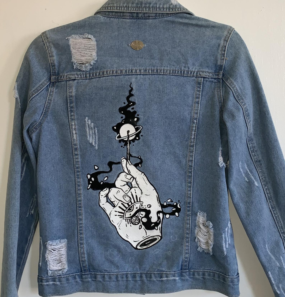 Custom Denim Jacket Painted Jean Jacket Painted Denim Jacket Etsy Custom Denim Jackets Hand Painted Denim Jacket Diy Denim Jacket [ 1042 x 1000 Pixel ]