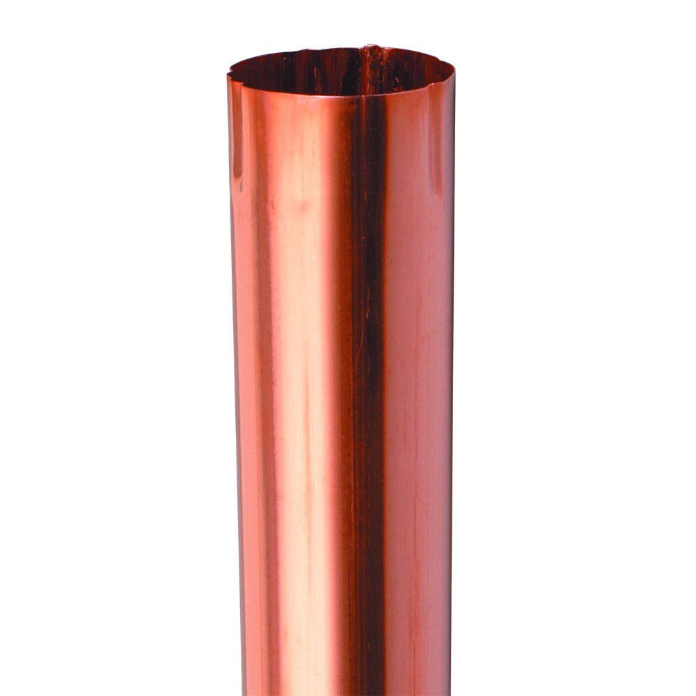 Amerimax Home Products 4 In Half Round Copper Plain Downspout Brown Copper Copper Gutters Home Depot