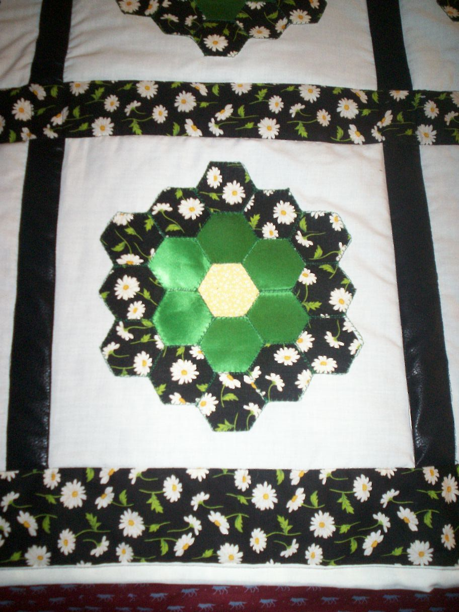 handmade+bed+quilt+hexagon+flowers+daisys+green+satin+yellow+centers+61+inches+by+58+inches