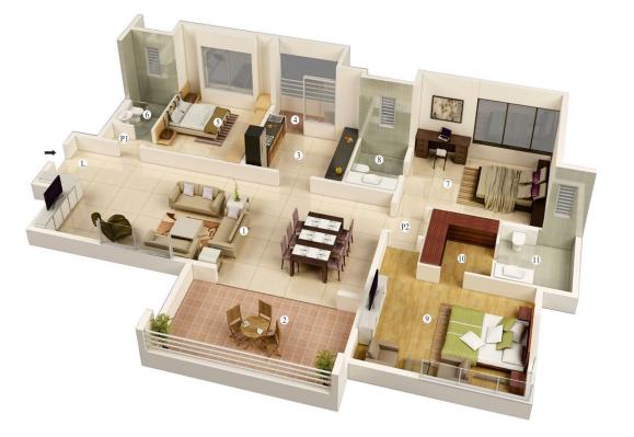 25 More 3 Bedroom 3D Floor Plans Floor plan design