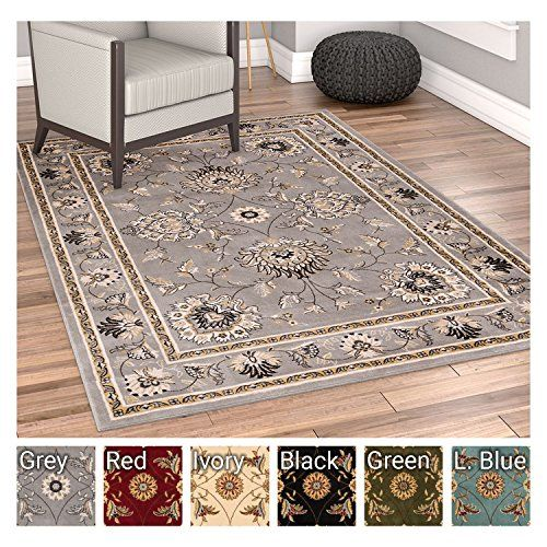 Sultan Sarouk Grey Oriental Area Rug Persian Floral Formal Traditional X Easy Clean Stain Fade Resistant Shed Free Modern Classic Contemporary