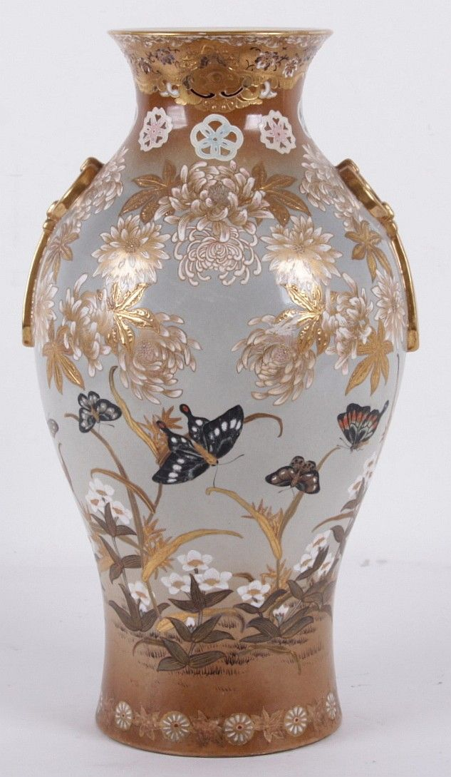 A Satsuma Vase By Ryokuzan Meiji Period The Ovoid Body Decorated In