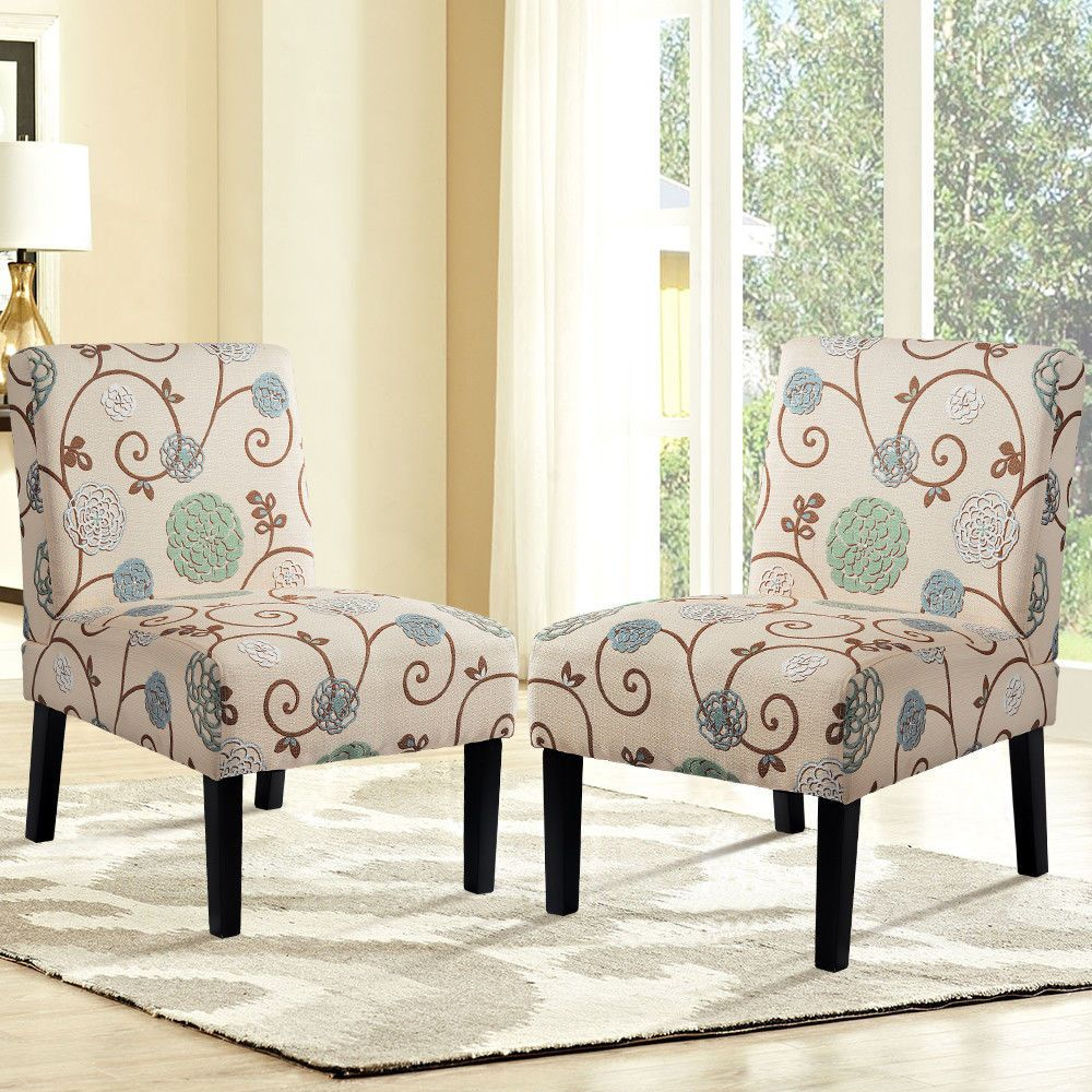 Fabric Armless Contemporary Set Of 2 Accent Chair Dining Chair