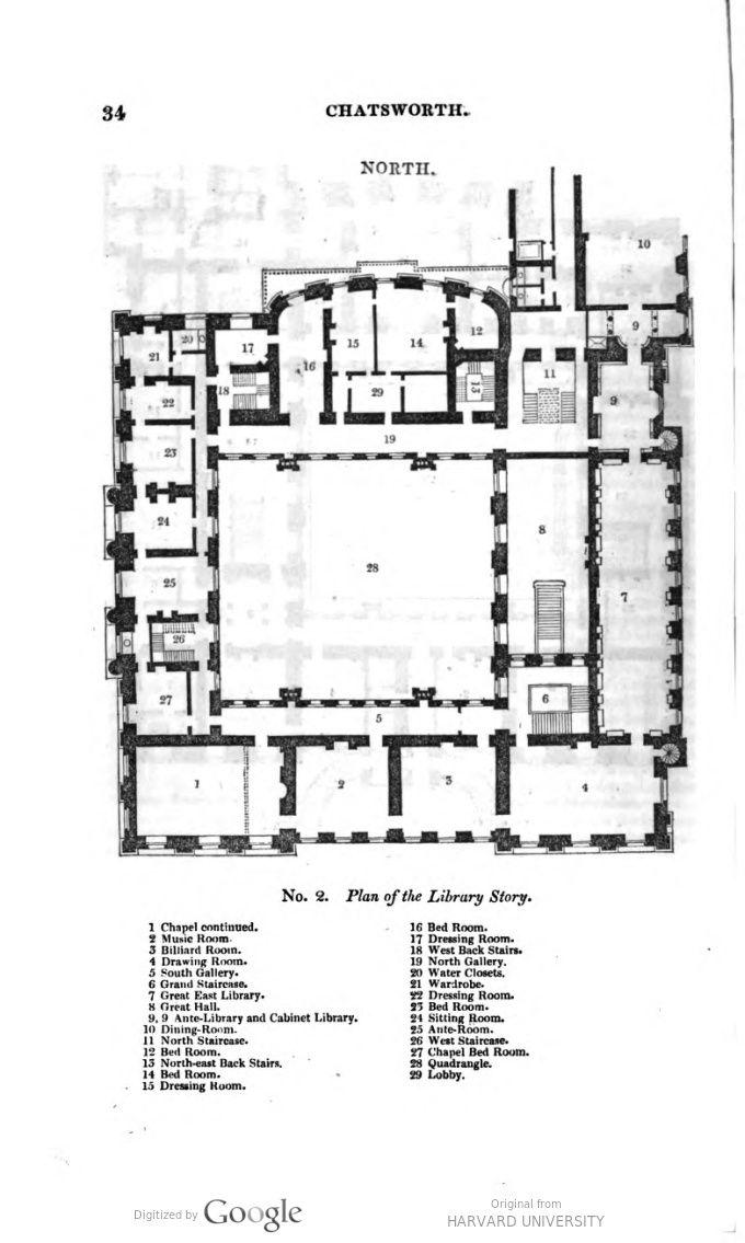 Chatsworth House, first floor plan (mid XIX-century