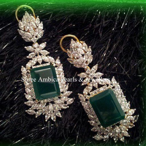 Emerald Diamond Indian Jewellery Design Jewelry Hanging Earrings Antique Bfrhb