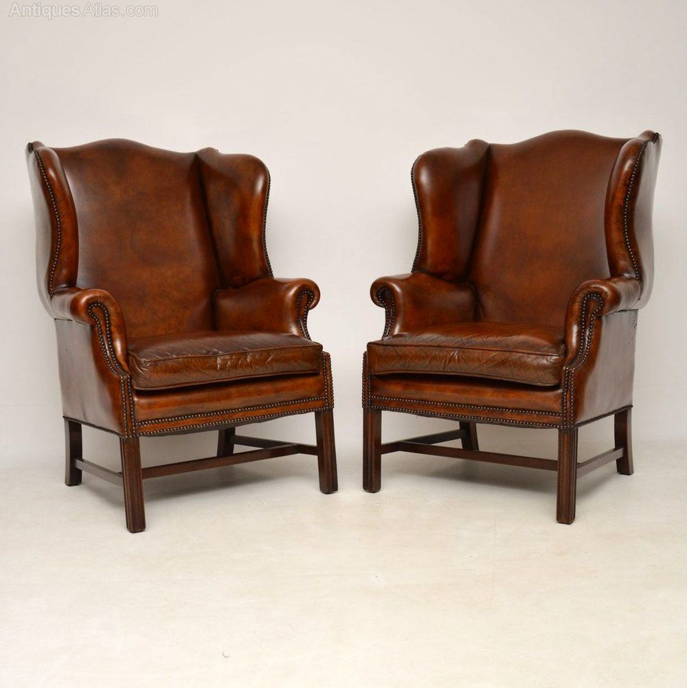Pair Of Leather Wing Back Armchairs Armchair Winged Armchair