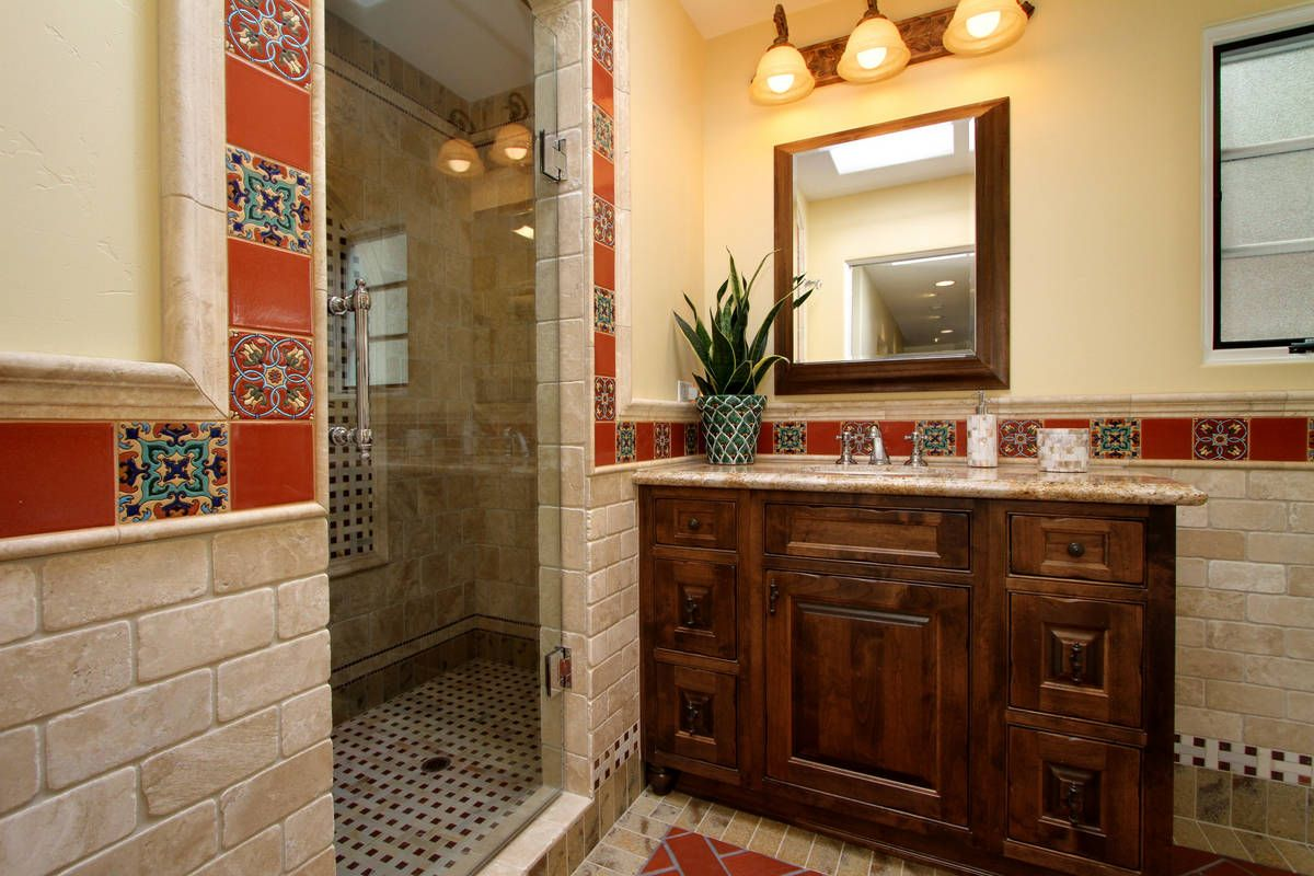 Pool and guest bath in 100-year old Spanish revival home ...