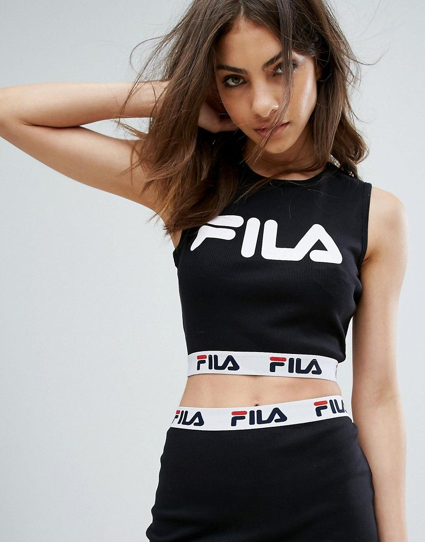 FILA SLEEVELESS CROP TOP WITH FRONT LOGO AND TAPE DETAIL IN RIB CO-ORD -  BLACK.  fila  cloth   c9b6575b10a