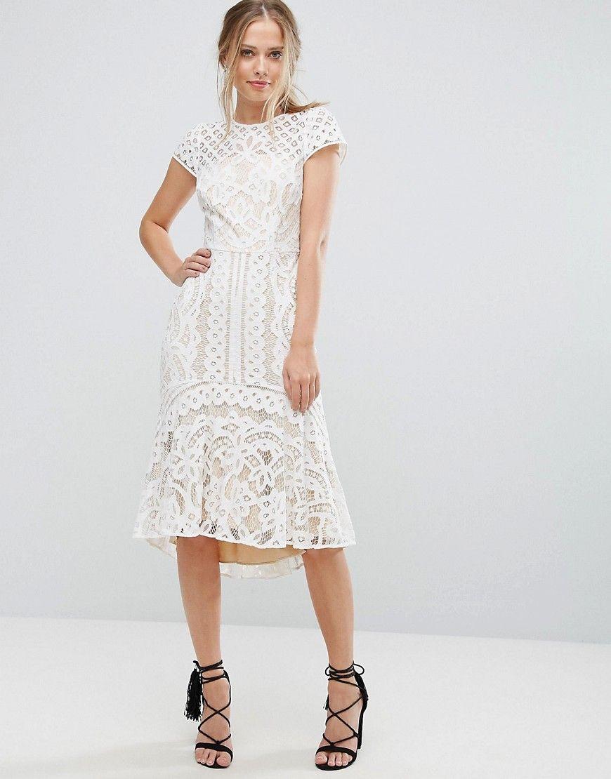 Coast - Dee Dee - Kleid aus Spitze mit Schößchen - Weiß Jetzt ...