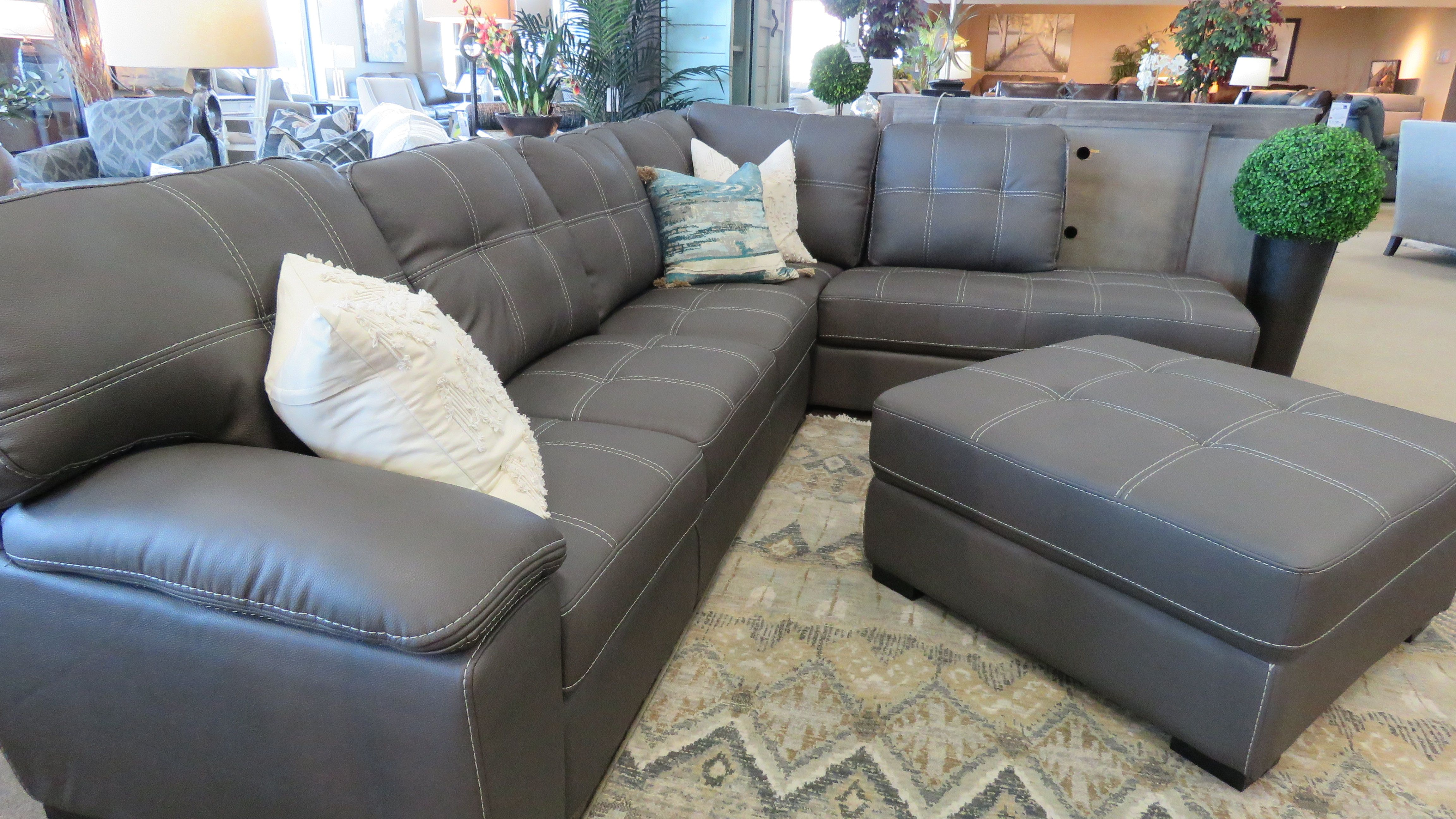 Sectional Couch With White Stitching Ottoman Furniture Sectional Couch Craftmaster Furniture