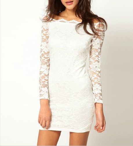 192b67680d  38.99 Boat Neck Long Sleeve White Lace Dress   MayKool.com