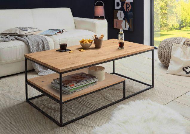 Trier Couchtisch Mit Ablage 110x60 Eiche Massiv Metall Schwarz Coffee Table Gold Room Decor Simple Furniture