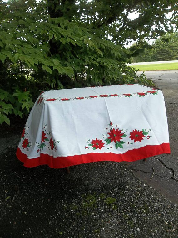 Vintage Christmas Tablecloth 60 X 80 Oval Holiday Table Cloth Cottage Style Linens Decorat