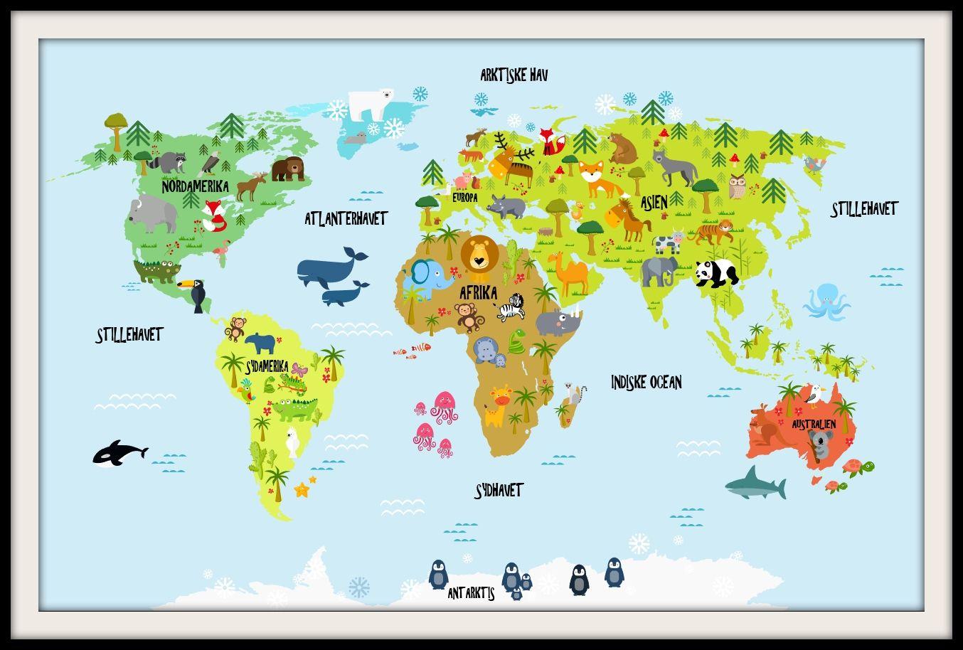 Verdenskort Med Dyr Verdenskort Baby Vaerelser Legevaerelser
